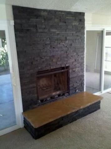 Quartzsite Sandstone And Glass Tile Fireplace